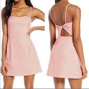 Whisper Gingham Tie Back Mini Dress